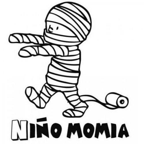 Dibujo de niño momia para pintar en Carnaval con tus hijos
