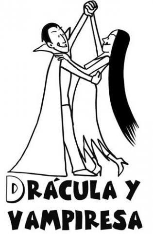 Dibujo de Drácula y vampiresa para colorear en Halloween