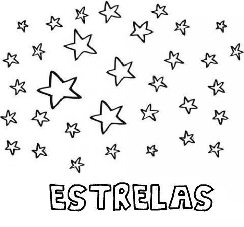 Desenho gratuito de estrelas para pintar