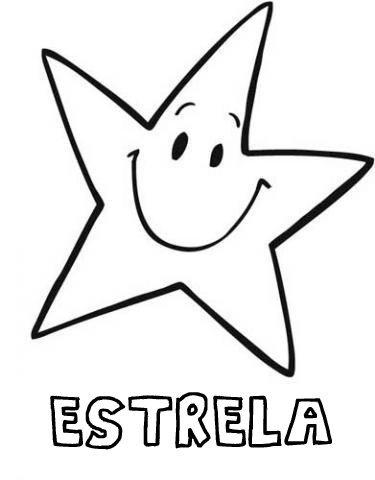 Desenho de estrela sorridente para pintar