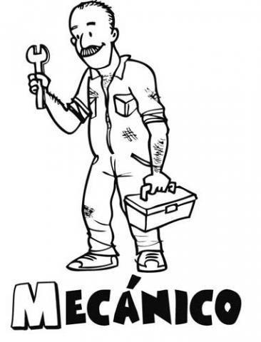 desenho de mecânico para imprimir e pintar
