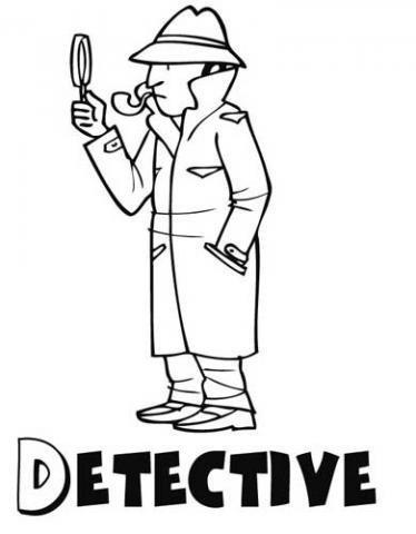 Dibujo de un detective para imprimir y colorear