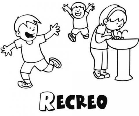 Dibujo gratis de niños en el recreo, imágenes del colegio para colorear