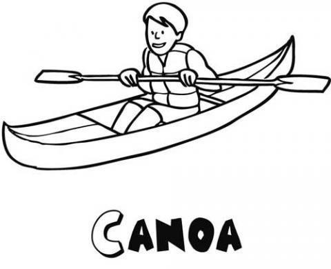 Dibujos de una canoa para colorear por los niños