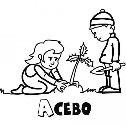 Dibujo infantil de un acebo de Navidad