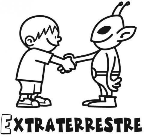 Desenho de menino com extraterrestre para pintar