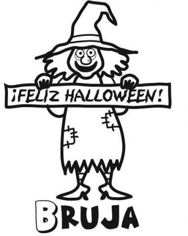 Dibujo de bruja en Halloween para imprimir y pintar