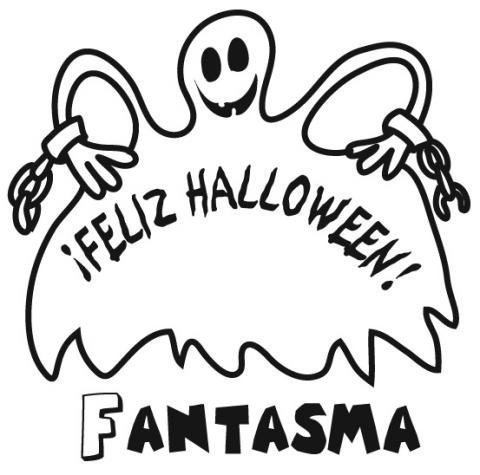 Dibujo infantil de fantasma en Halloween