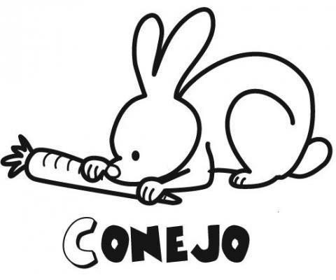 Dibujo de un conejo para imprimir y colorear con los niños