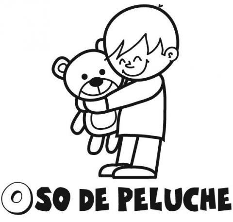 Dibujo de un niño abrazando su oso de peluche para colorear