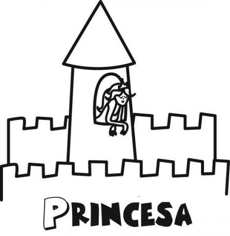 Dibujo para pintar con los niños de una princesa en castillo