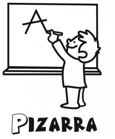 Dibujo De Niño En La Pizarra Del Colegio Para Colorear