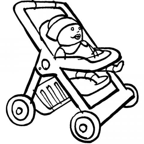 Carrito de muñecas. Dibujos infantiles para colorear