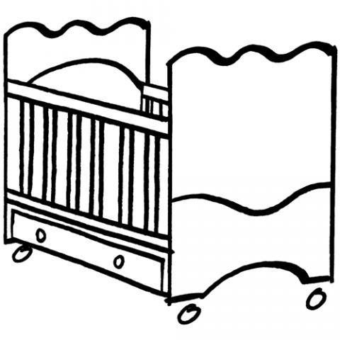 Dibujos de una cuna de bebé para imprimir y colorear