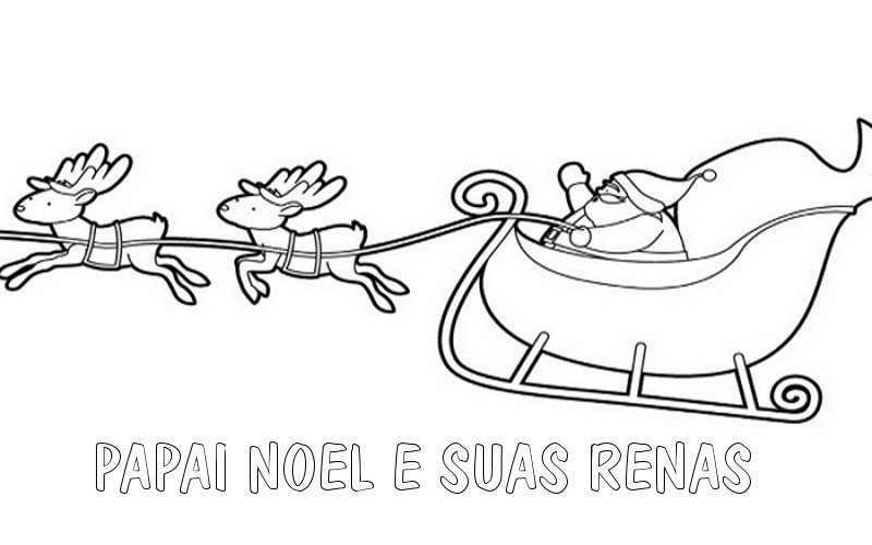 Desenho para pintar de Papai Noel e suas renas