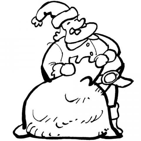 Dibujo De Papa Noel Llevando Un Saco De Regalos Para Los Ninos
