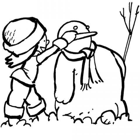 Muñeco de nieve con bufanda. Dibujo para colorear