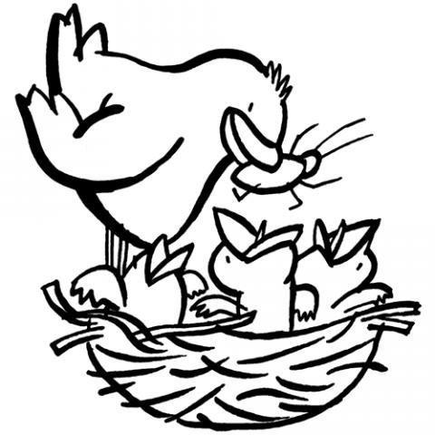 Dibujo para imprimir y colorear con los niños de un pájaro con sus crías