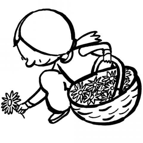 Dibujo de una niña recogiendo flores