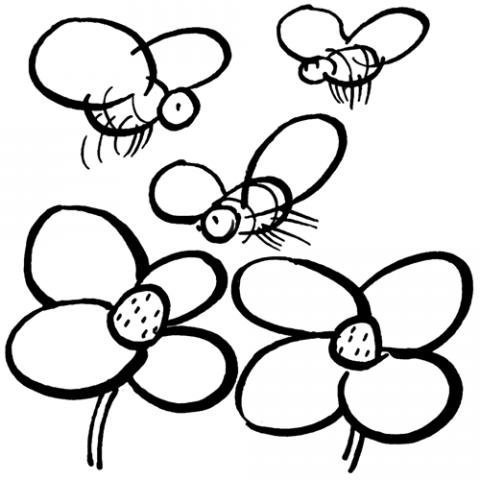 Dibujos Infantiles De Abejas Y Flores Para Imprimir Y Colorear