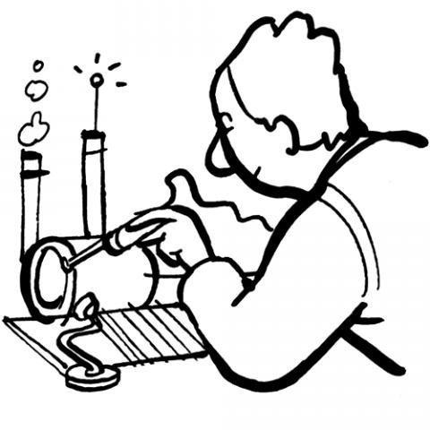Desenho de um inventor ou cientista para pintar