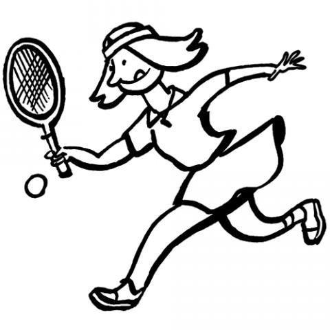 Desenho de uma tenista jogando para pintar