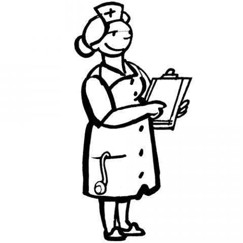Desenho de uma enfermeira para pintar