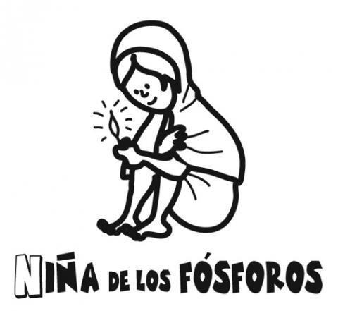 Dibujo de la niña de los fósforos para colorear con los niños
