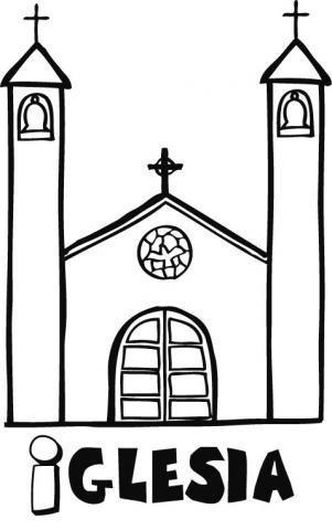 Dibujo infantil de una iglesia para pintar