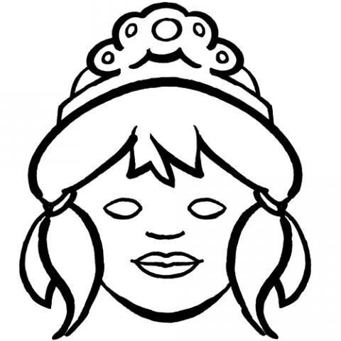 Careta de princesa para colorear con los niños. Dibujos de Carnaval