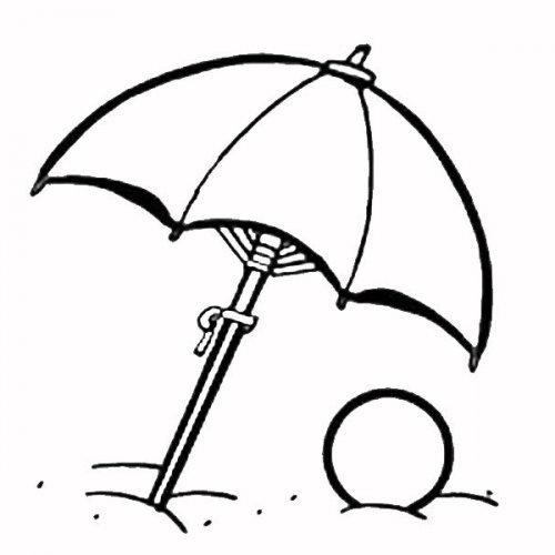 Dibujo de una sombrilla de playa para colorear con los niños