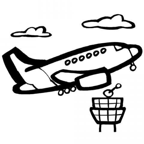 Dibujos de avión para imprimir y colorear para niños