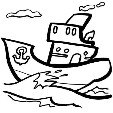 Desenho de um barco pirata para pintar