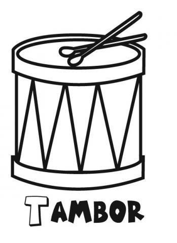 Dibujo de tambor para imprimir y colorear