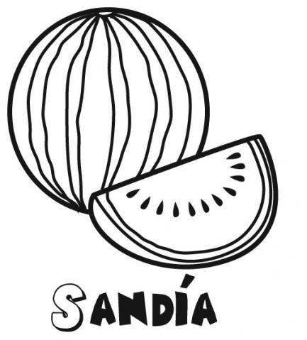 Dibujo De Una Sandia Frutas Para Imprimir Y Colorear Con Ninos