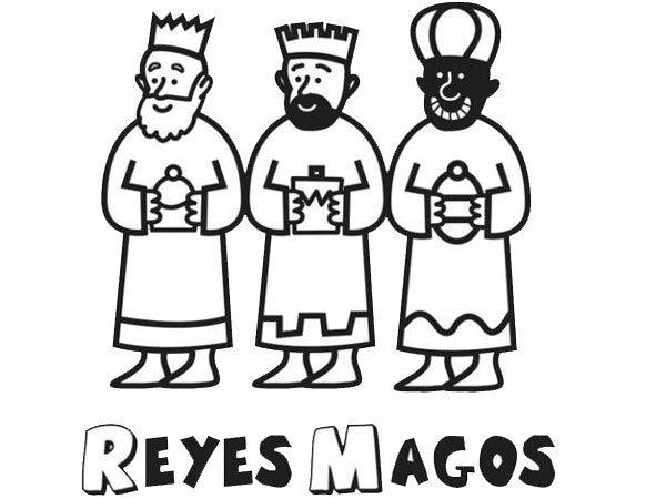Dibujo Para Colorear Con Ninos De Los Reyes Magos En Navidad