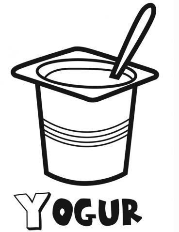 Dibujo de yogurt para imprimir y colorear con niños