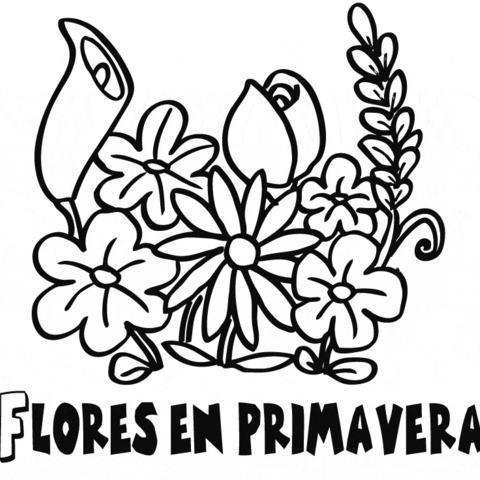 Dibujo gratis de ramo de flores. Dibujos de primavera para colorear