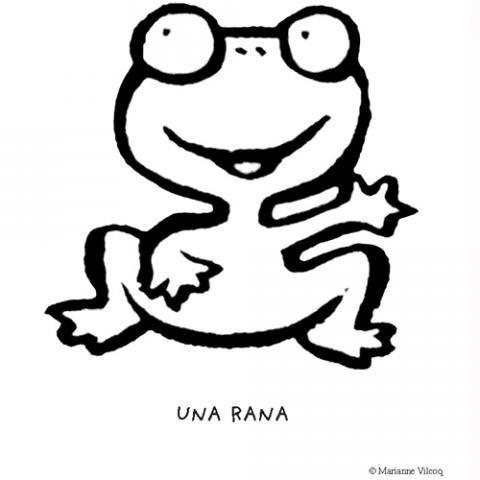 Dibujo de una rana sonriendo, animales del bosque para colorear