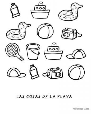Dibujo con objetos de la playa para imprimir y colorear