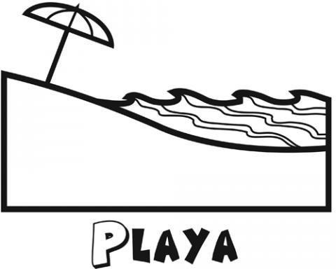 Dibujo de un paisaje de playa en verano para colorear