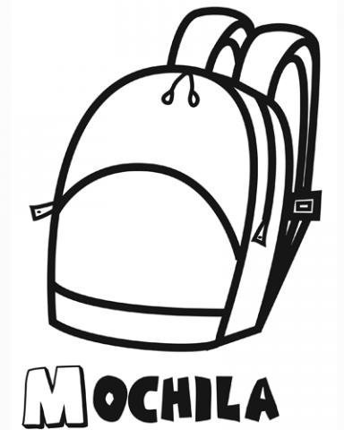 Dibujo de mochila para colorear con tus hijos