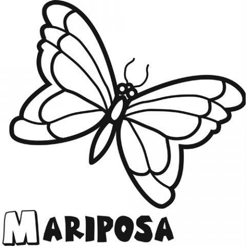 Dibujo infantil de mariposa para colorear. Dibujos de animales para ...