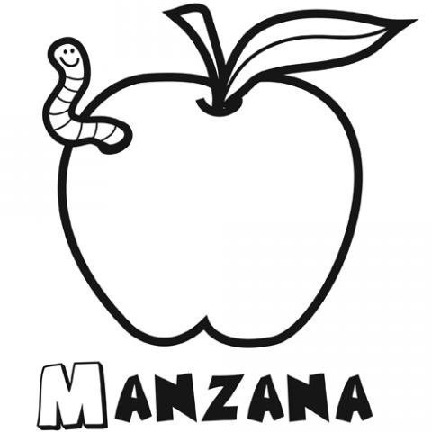 Dibujo manzana para colorear. Imágenes gratis de frutas