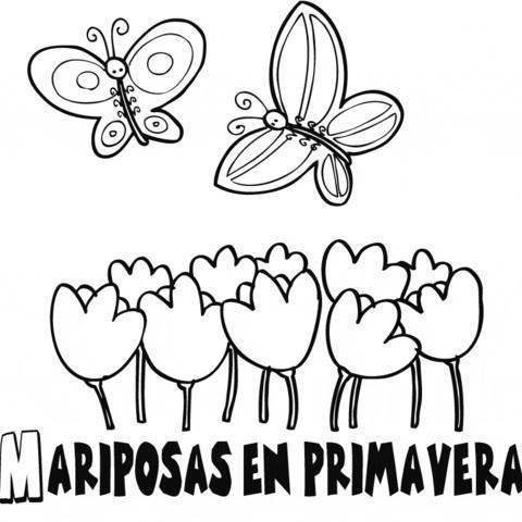 Dibujo de mariposas y flores para imprimir y pintar. Dibujos de animales