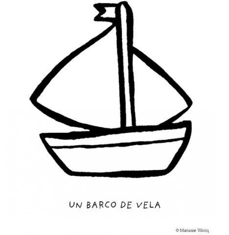 Desenho de barco com vela para colorir