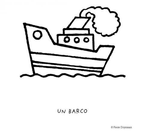 Desenho de barco com chaminé para pintar