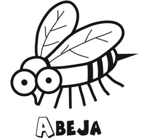 Dibujo para imprimir y colorear con los niños de una abeja