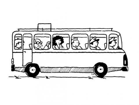 Desenho De Onibus Para Colorir Com As Criancas