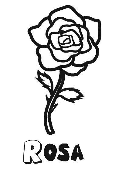 Dibujo infantil de una rosa, flores para imprimir y pintar